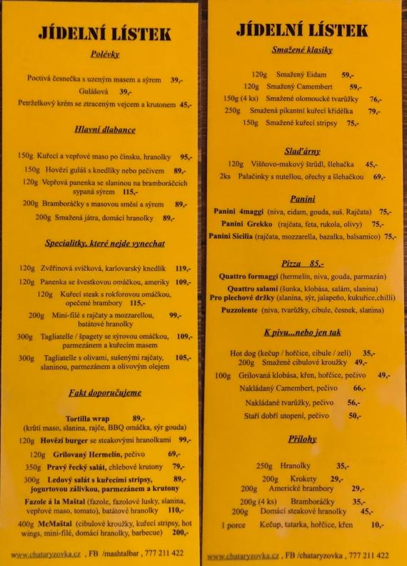Jídelní lístek v Mashtali