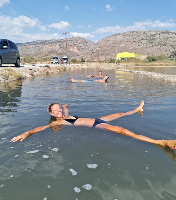 Solné jezera poblíž Messolongi, zdejší mrtvé moře